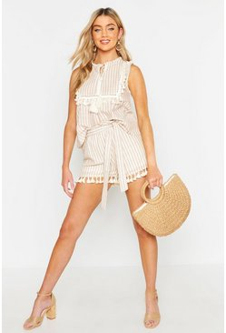 Womens Stone Linen Stripe Belted Tassel Trim Shorts