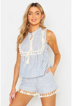 Womens Blue Linen Stripe Tassel Detail Top