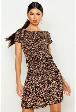 Womens Brown Leopard Print Shirred Bardot Top