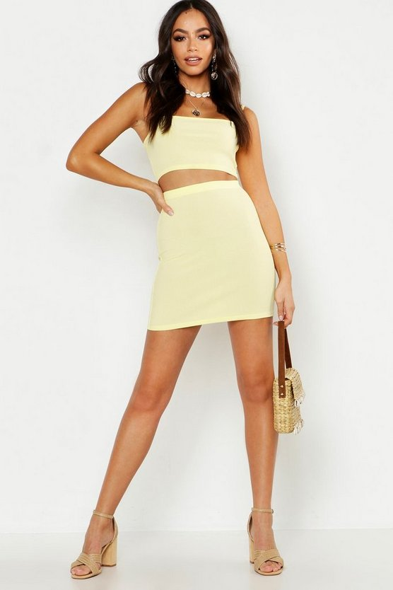 Womens Lemon Strappy Rib Crop Top & Mini Skirt Co-Ord