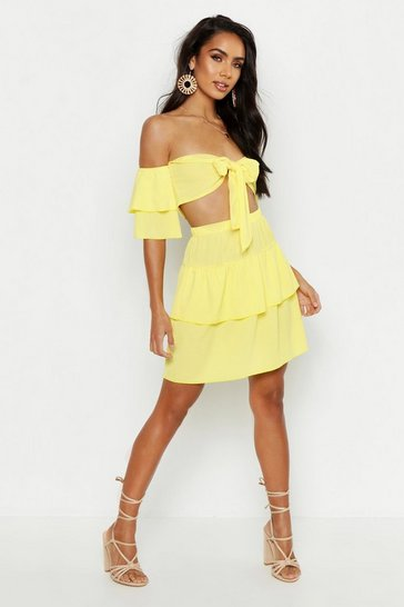 Womens Yellow Tie Front Bardot Ruffle Top & Mini Skirt Co-Ord