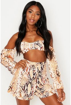 Brown Snake Tortoise Shell Buckle Top & Short Co-Ord
