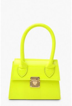 Womens Lime Neon Micro Mini Structured Handle Grab Bag