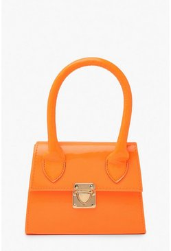 Dam Orange Neon Micro Mini Structured Handle Grab Bag
