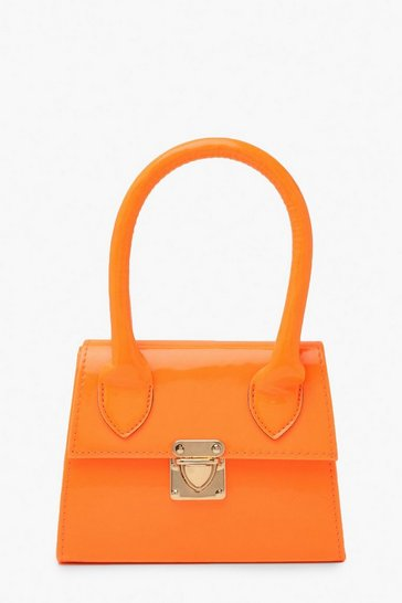 Womens Orange Neon Micro Mini Structured Handle Grab Bag