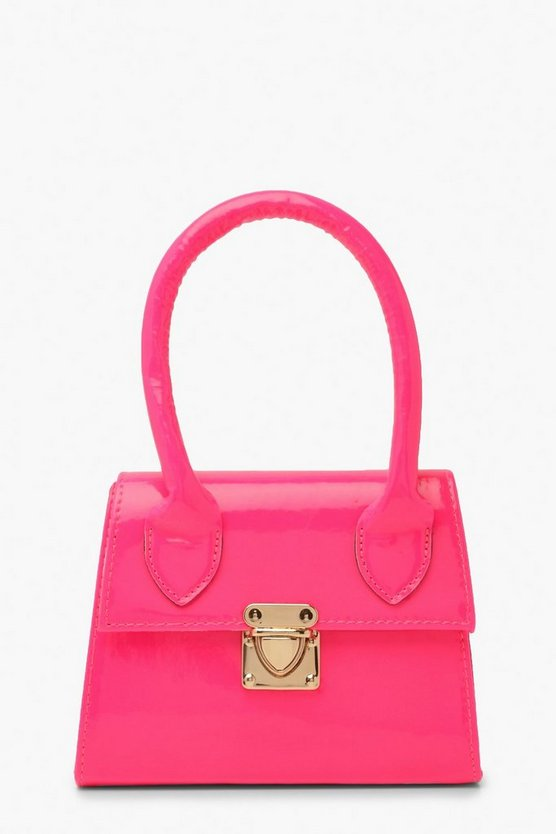Womens Pink Neon Micro Mini Structured Handle Grab Bag
