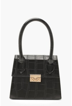 Dam Black Croc Micro Mini Structured Handle Grab Bag