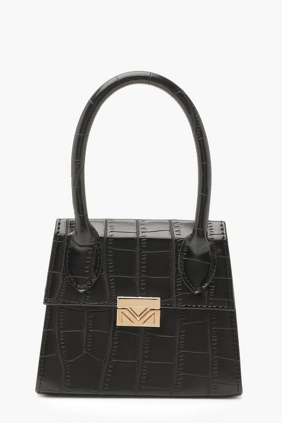 Womens Black Croc Micro Mini Structured Handle Grab Bag