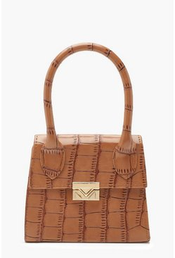 Womens Tan Croc Micro Mini Structured Handle Grab Bag