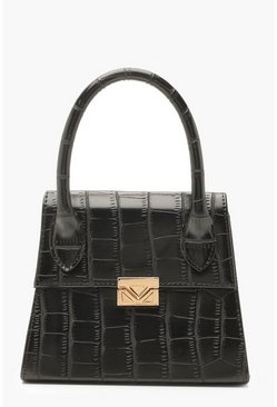 Dam Black Croc Mini Statement Handle Grab Bag
