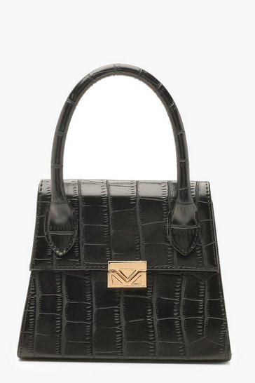 Black Croc Mini Statement Handle Grab Bag
