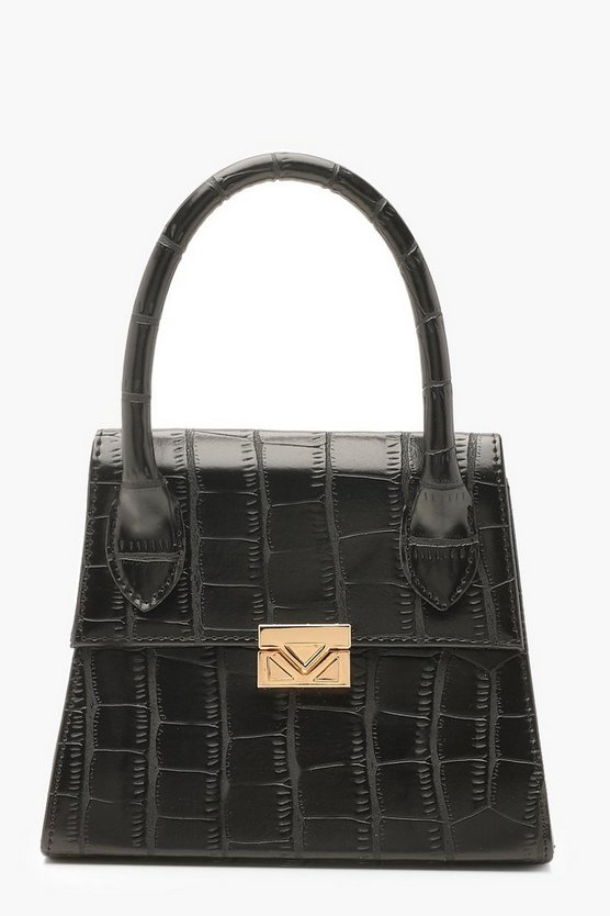 Womens Black Croc Mini Statement Handle Grab Bag