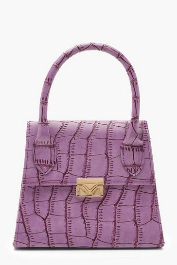 Womens Lilac Croc Mini Statement Handle Grab Bag