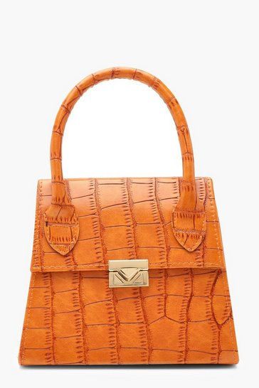 Womens Orange Croc Mini Statement Handle Grab Bag