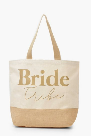 Womens Gold Foil Bride Tribe Straw Beach Bag