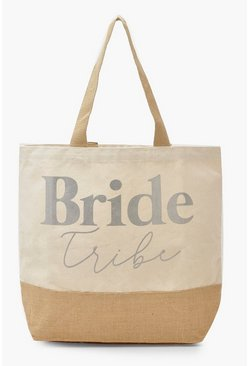 Womens Silver Foil Bride Tribe Straw Beach Bag