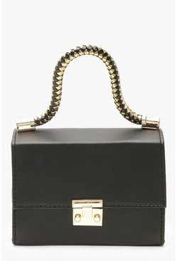 Womens Black Twisted Handle PU Mini Grab Bag