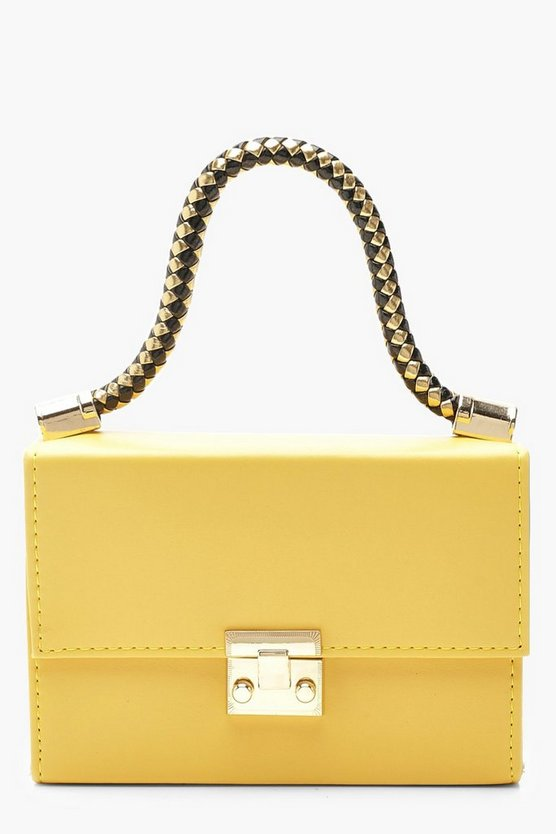 Womens Yellow Twisted Handle PU Mini Grab Bag