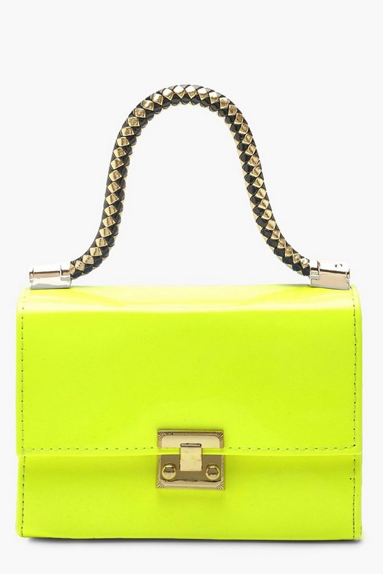 Womens Neon-lime Twisted Handle Neon Mini Grab Bag