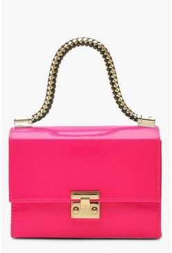 Womens Neon-pink Twisted Handle Neon Mini Grab Bag
