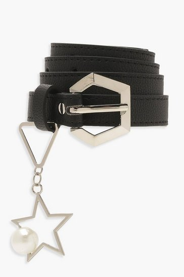 Womens Black Hexagon Star Belt