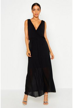 Dam Black Woven Pleated Wrap Maxi Dress