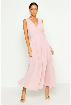 Womens Soft pink Woven Pleated Wrap Maxi Dress