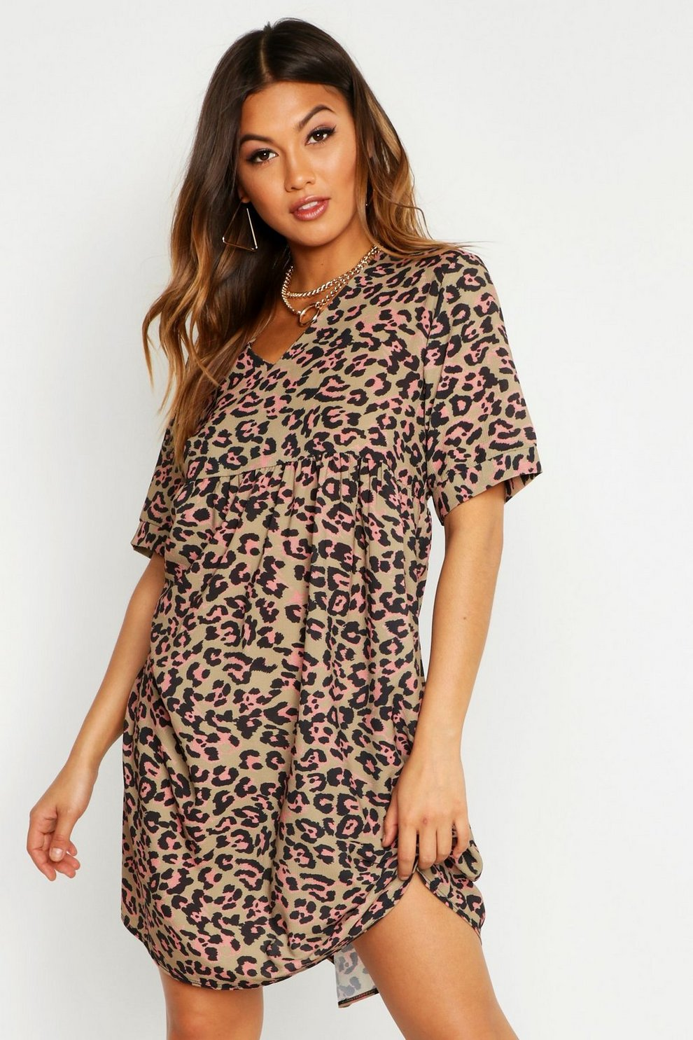 0d6317262a13 Womens Brown Leopard Print Smock Dress