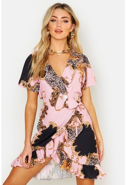 Womens Pink Chain Print Ruffle Wrap Front Tea Dress