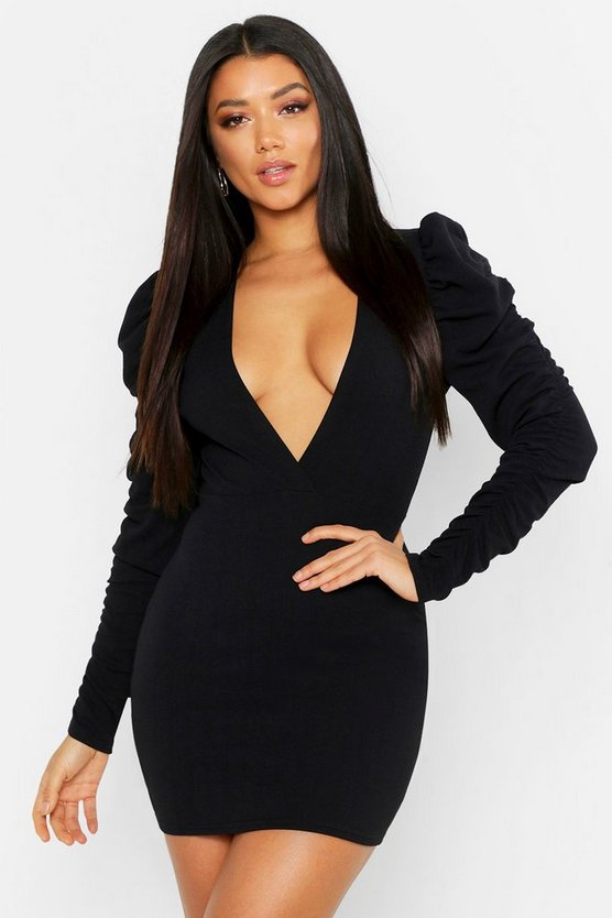 Womens Black Wrap Rouche Sleeve Bodycon Mini Dress