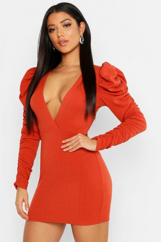 Wrap Rouche Sleeve Bodycon Mini Dress by Boohoo