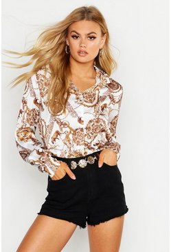 Womens White Satin Chain Shirt