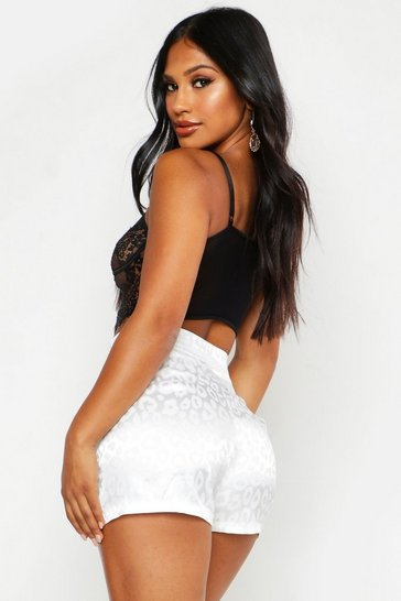 Womens White Leopard Print Satin Tailored Short