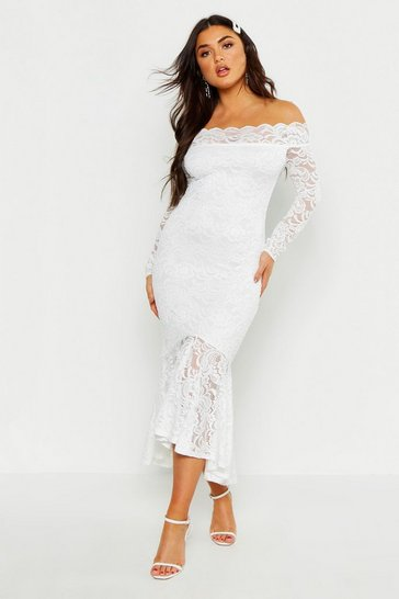 298a73f098 Off The Shoulder Lace Fishtail Midi Dress
