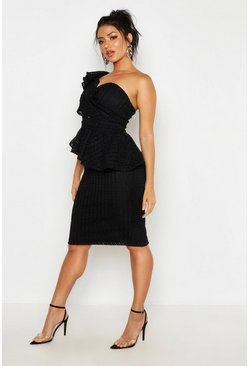 Black Heavy Lace One Shoulder Peplum Midi Dress