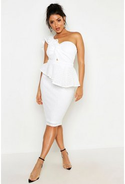 Womens White Heavy Lace One Shoulder Peplum Midi Dress