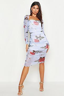 Floral Mesh Overlay Rouche Midi Dress