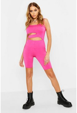 Womens Cerise Festival Cut Out Unitard