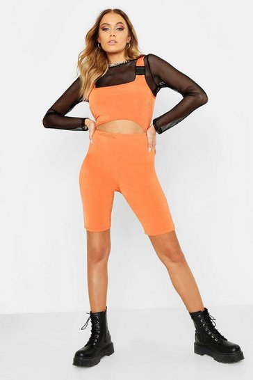 Womens Tangerine Festival Buckle Cut Out Unitard