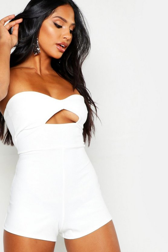 Womens Ivory Bandeau Cupped Cut Out Playsuit