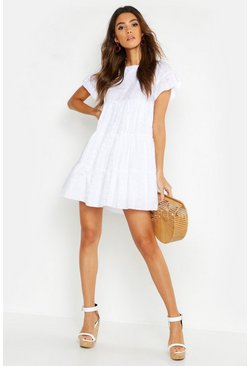 Womens White Embroidered Smock Playsuit