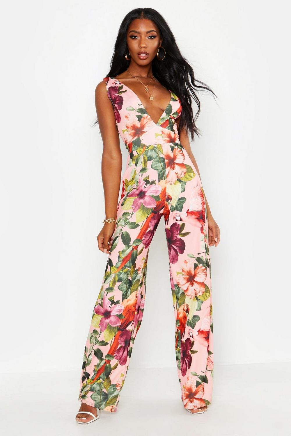 latest fashion new product big clearance sale Plunge Floral Jumpsuit | Boohoo