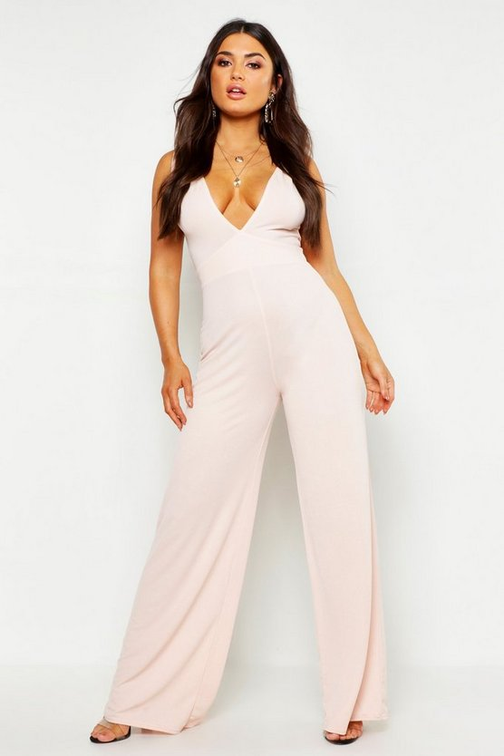 Womens Blush Plunge Jumpsuit