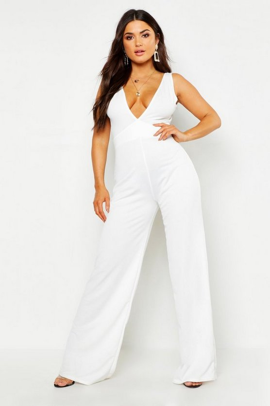 Womens Ivory Plunge Jumpsuit