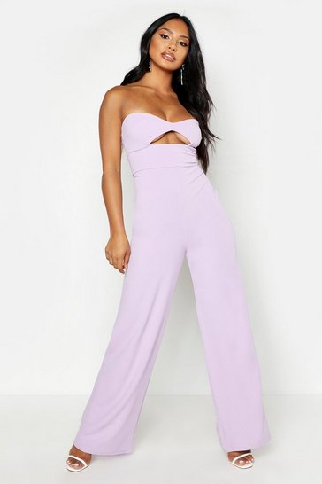 Womens Lilac Bandeau Cupped Cut Out Jumpsuit