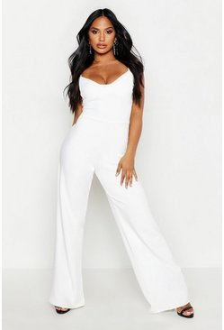 Womens Ivory Cupped Strappy Jumpsuit