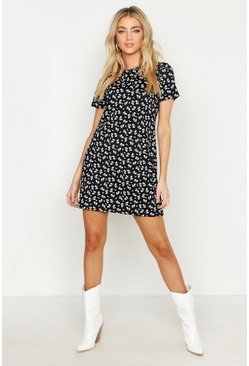 Black Floral Jersey Crew Neck Shift Dress
