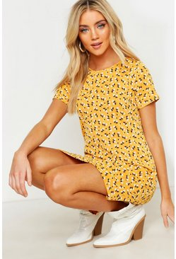 Mustard Floral Jersey Crew Neck Shift Dress