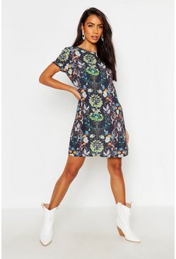 Womens Navy Woven Floral Paisley Shift Dress