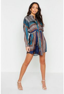 Womens Blue Satin Paisley Print Tie Shirt Dress